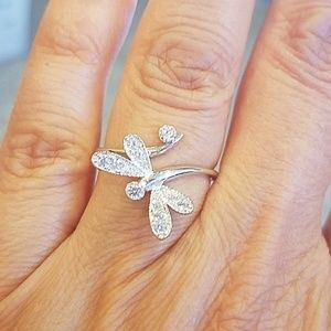 14k white gold plated dragonfly Ring size 7.5